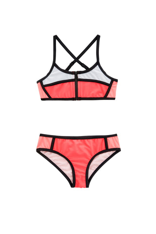 Colourblock Tankini Jewel Coral
