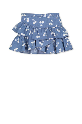 Denim Frill Skirt - Denim/White
