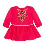 Peru Dress W Yoke Embroidery