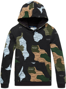 Hooded sweat with allover print