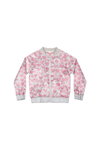 Sateen Bomber - Watercolour Hearts