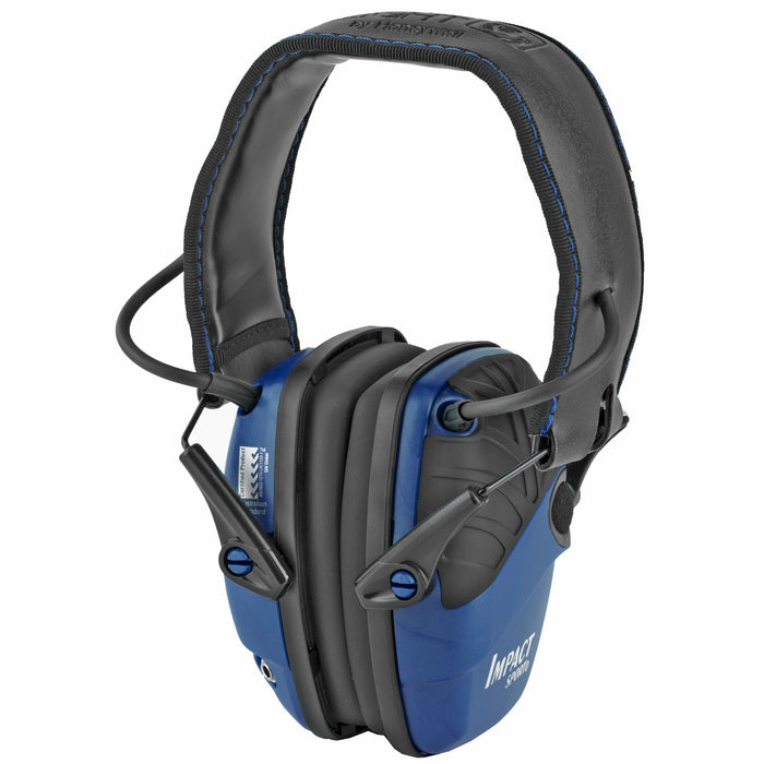Howard Leight, Impact Sport, Electronic Earmuff, Folding, Real Blue Finish