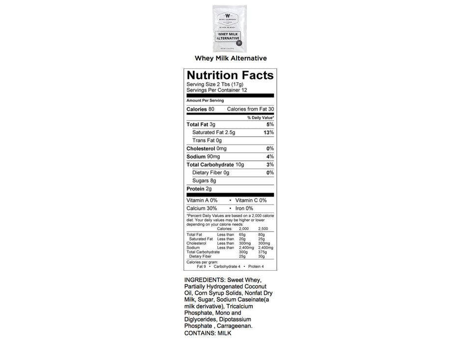 Emergency Freeze Dried Powdered Whey Milk - 120 Servings