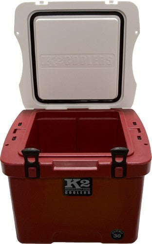 K2 Cooler Summit Series 30 Quart Series Crimson White Lis!