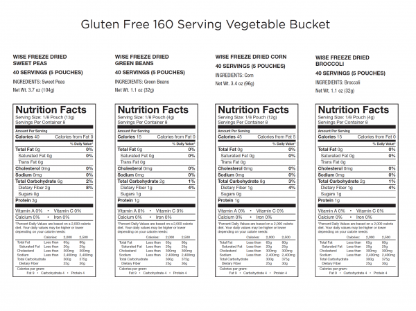 Gluten Free Emergency Freeze Dried Vegetables - 160 Servings