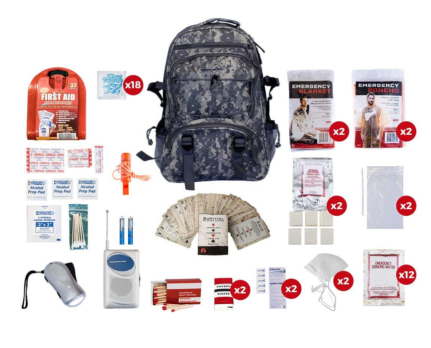 2 Person Basic Survival Kit (72+ Hours) - Camo Backpack