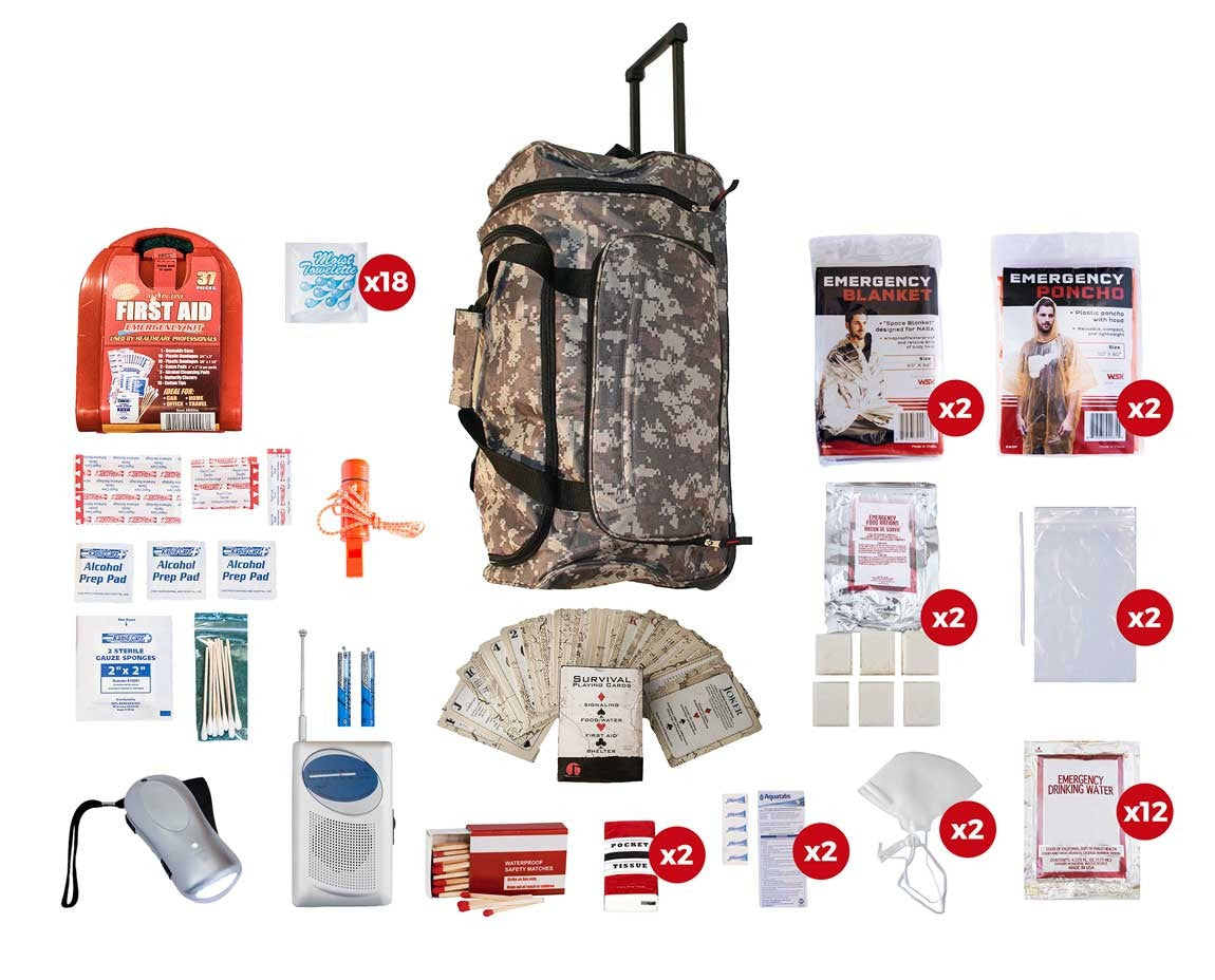 2 Person Basic Survival Kit (72+ Hours) - Camo Roller Bag