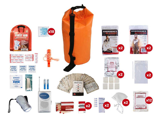 2 Person Basic Survival Kit (72+ Hours) - Waterproof Dry Bag