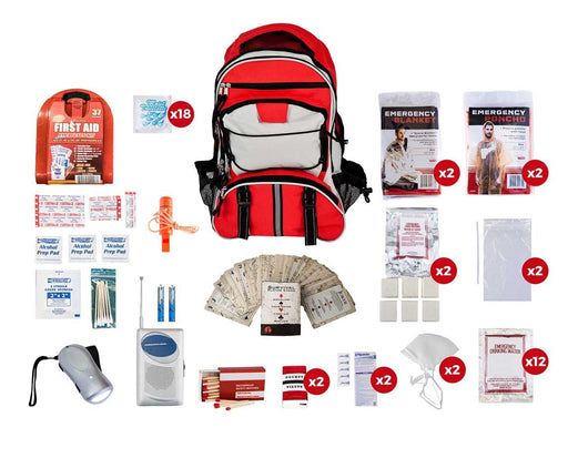2 Person Basic Survival Kit (72+ Hours) - Red Backpack