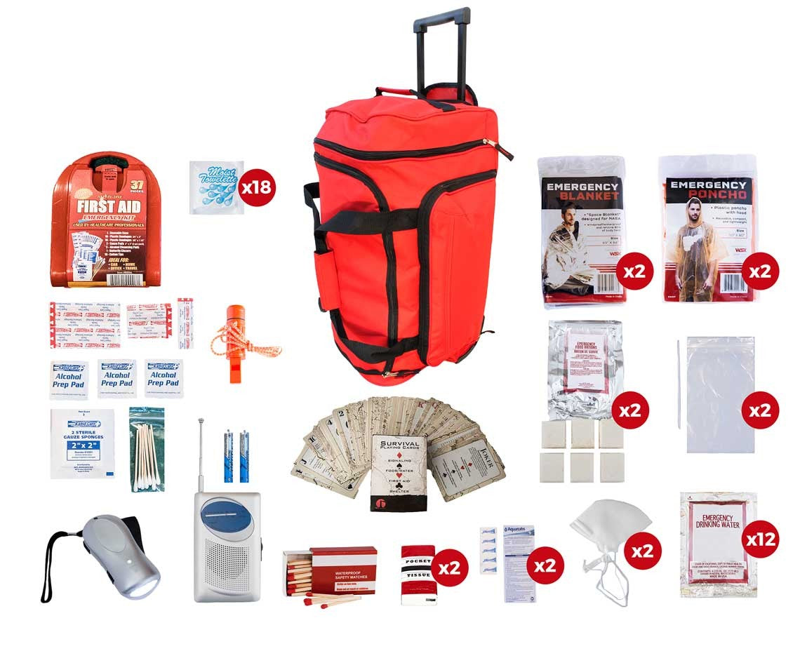 2 Person Basic Survival Kit (72+ Hours) - Red Roller Bag