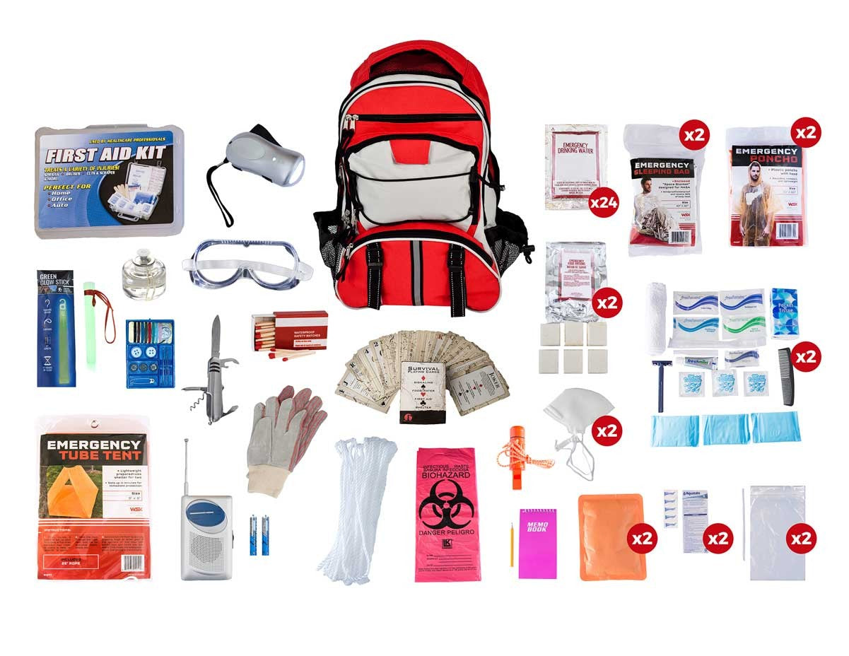 2 Person Elite Survival Kit (72+ Hours) - Red Backpack