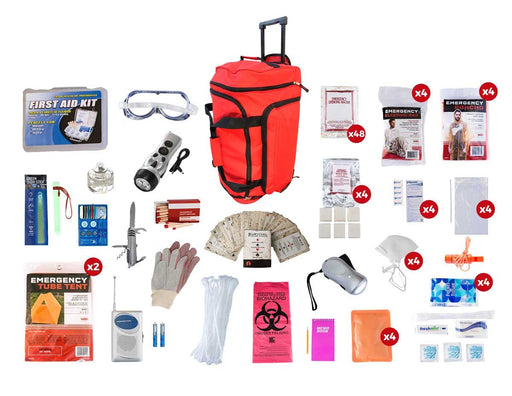 4 Person Elite Survival Kit (72+ Hours) - Red Roller Bag