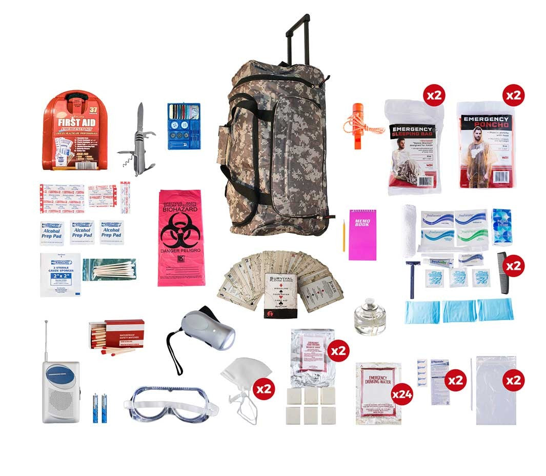 2 Person Deluxe Survival Kit (72+ Hours) - Camo Roller Bag