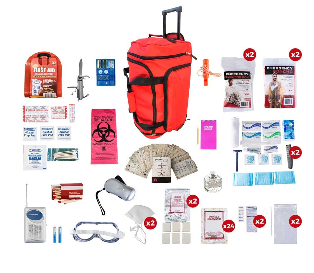 2 Person Deluxe Survival Kit (72+ Hours) - Red Roller Bag