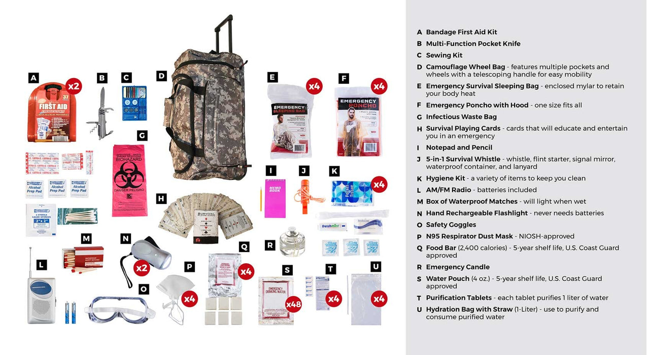 4 Person Deluxe Survival Kit (72+ Hours) - Camo Roller Bag