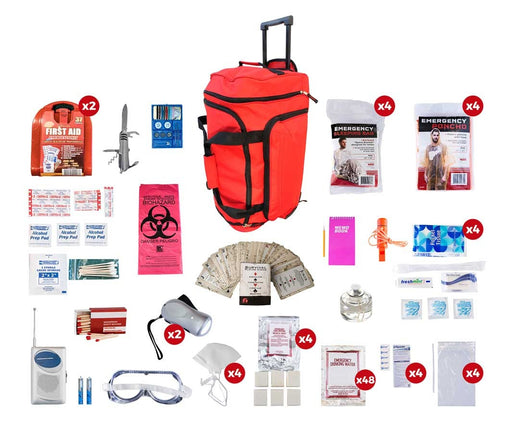 4 Person Deluxe Survival Kit (72+ Hours) - Red Roller Bag
