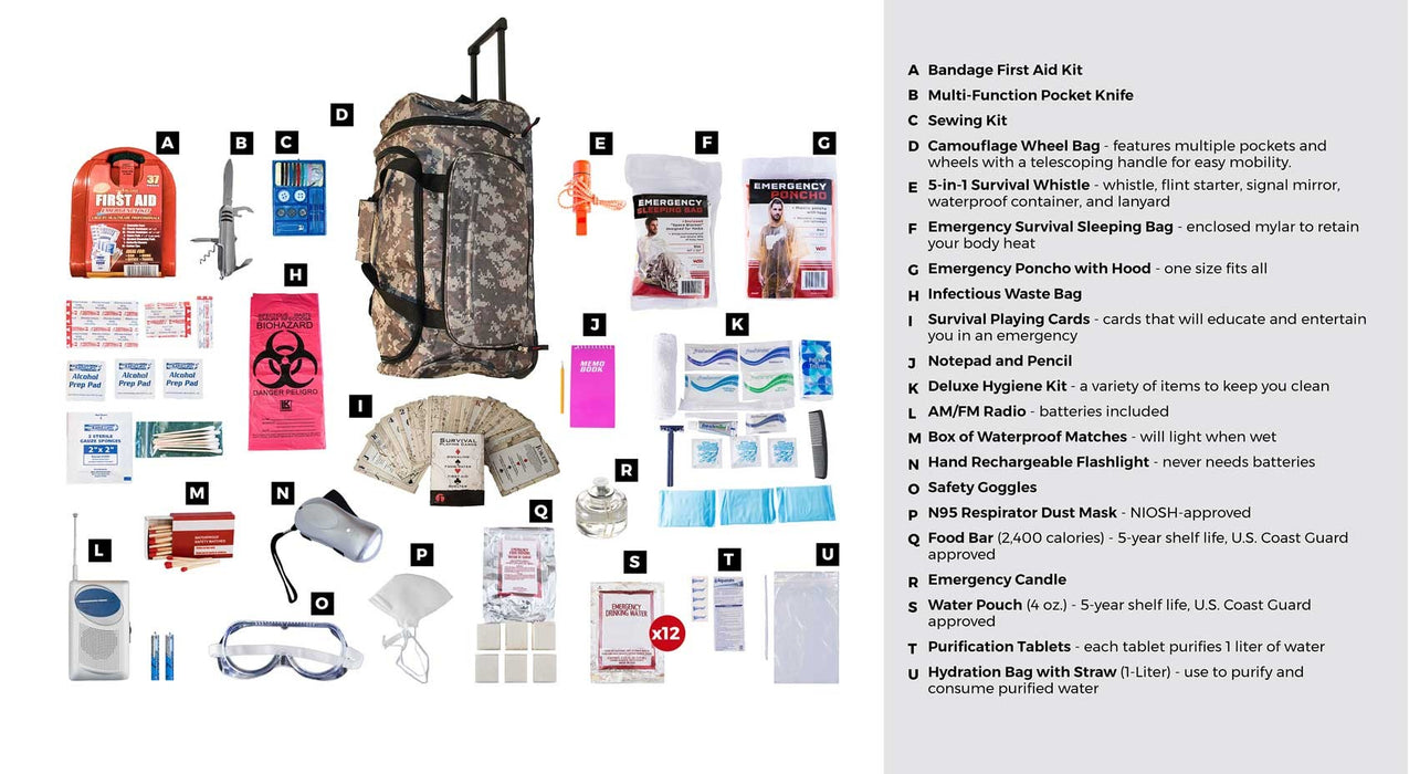 1 Person Deluxe Survival Kit (72+ Hours) - Camo Roller Bag