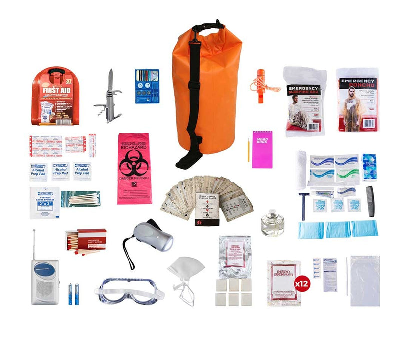 1 Person Deluxe Survival Kit (72+ Hours) - Waterproof Dry Bag