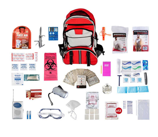 1 Person Deluxe Survival Kit (72+ Hours) - Red Backpack
