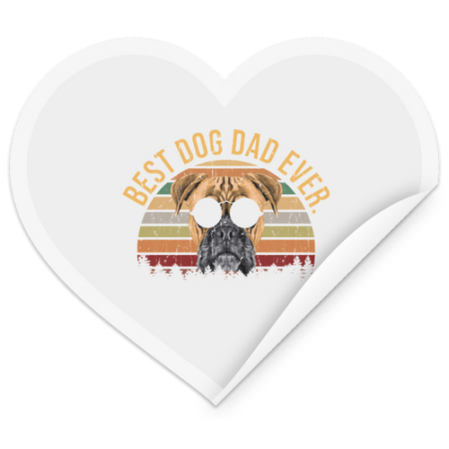 MENS VINTAGE BEST DOG DAD EVER Heart Sticker