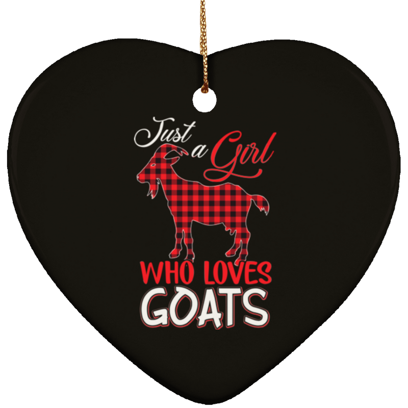 JUST A GOAT WHO LOVES GOATS Ceramic Heart Ornament