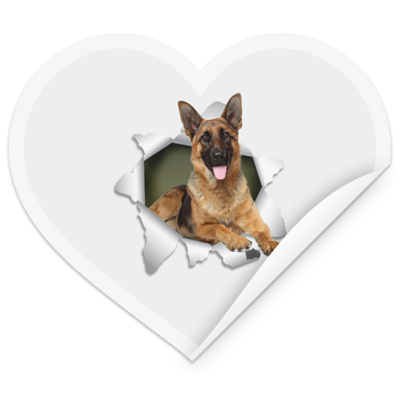 GERMAN SHEPHERD 3D Heart Sticker
