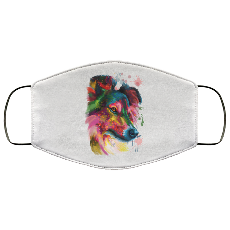 Hand painted sheltie human Face Mask