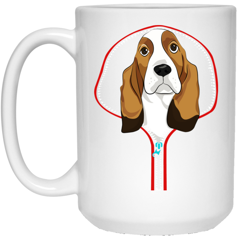 BASSET HOUND ZIP-DOWN 15 oz. White Mug