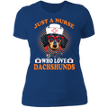 JUST A NURSE WHO LOVES DACHSHUNDS Ladies' Boyfriend T-Shirt