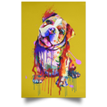 HAND PAINTED BULLDOG Satin Portrait Poster