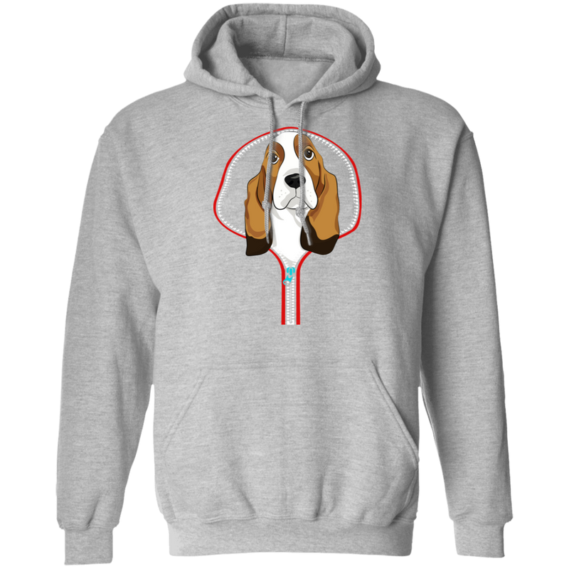 BASSET HOUND ZIP-DOWN LADIES Pullover Hoodie 8 oz.