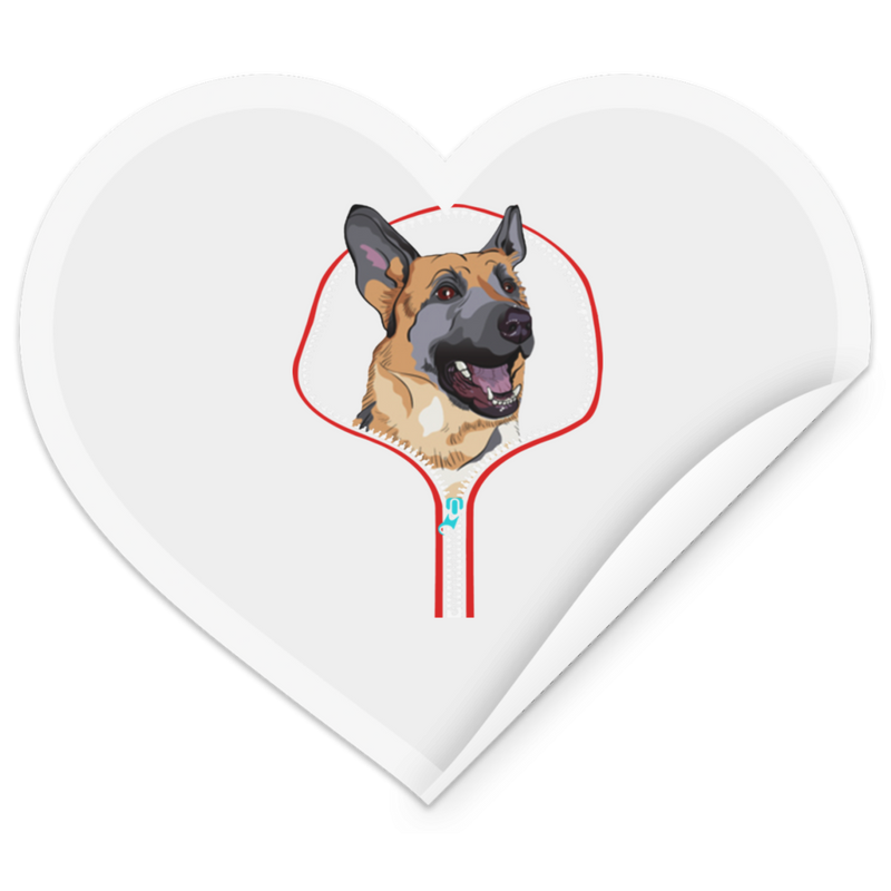 GERMAN SHEPHERD ZIP-DOWN Heart Sticker
