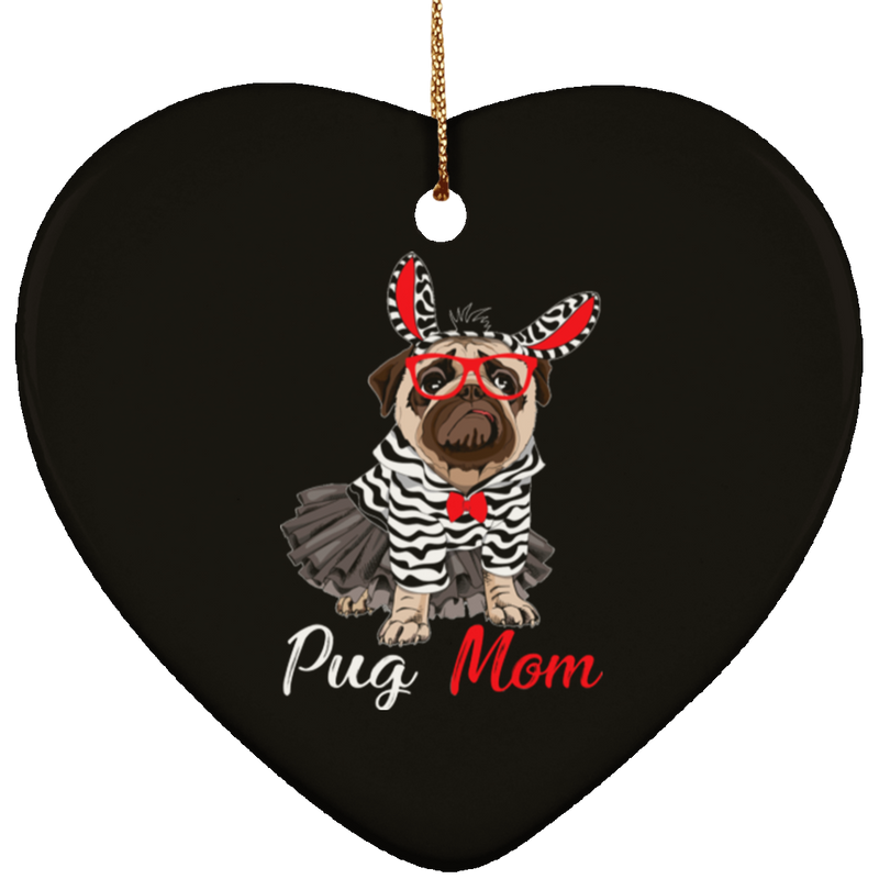 PUG MOM Ceramic Heart Ornament