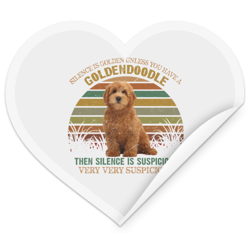 RETRO GOLDENDOODLE Heart Sticker