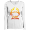 SAVE THE CHUBBY UNICORNS Ladies' LS Performance V-Neck T-Shirt