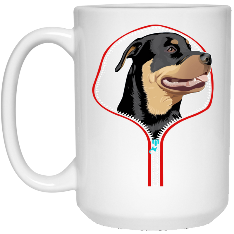 ROTTWEILER ZIP-DOWN 15 oz. White Mug