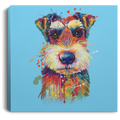 Hand Painted Schnauzer Square Canvas .75in Frame