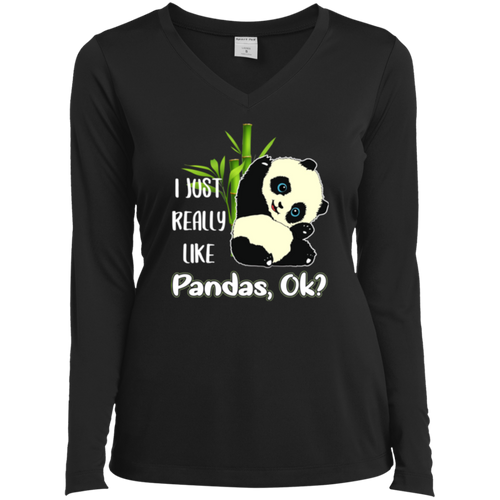 I JUST REALLY LIKE PANDAS Ladies' LS Performance V-Neck T-Shirt