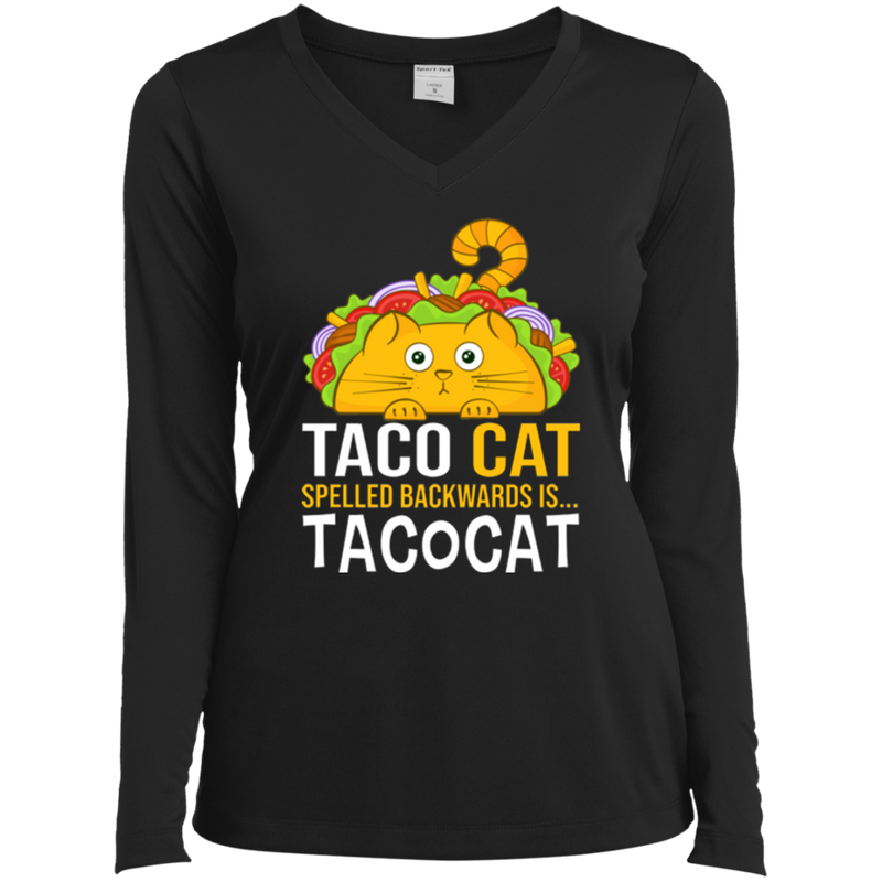 TACO CAT Ladies' LS Performance V-Neck T-Shirt