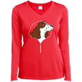 COCKER SPANIEL ZIP-DOWN Ladies' LS Performance V-Neck T-Shirt