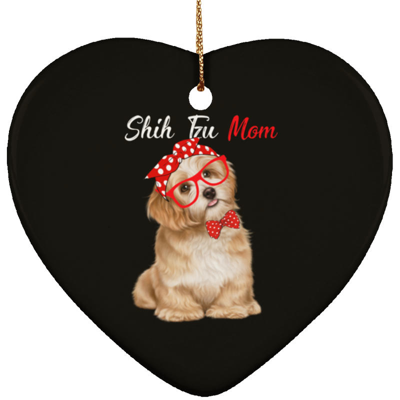 SHIH TZU Ceramic Heart Ornament
