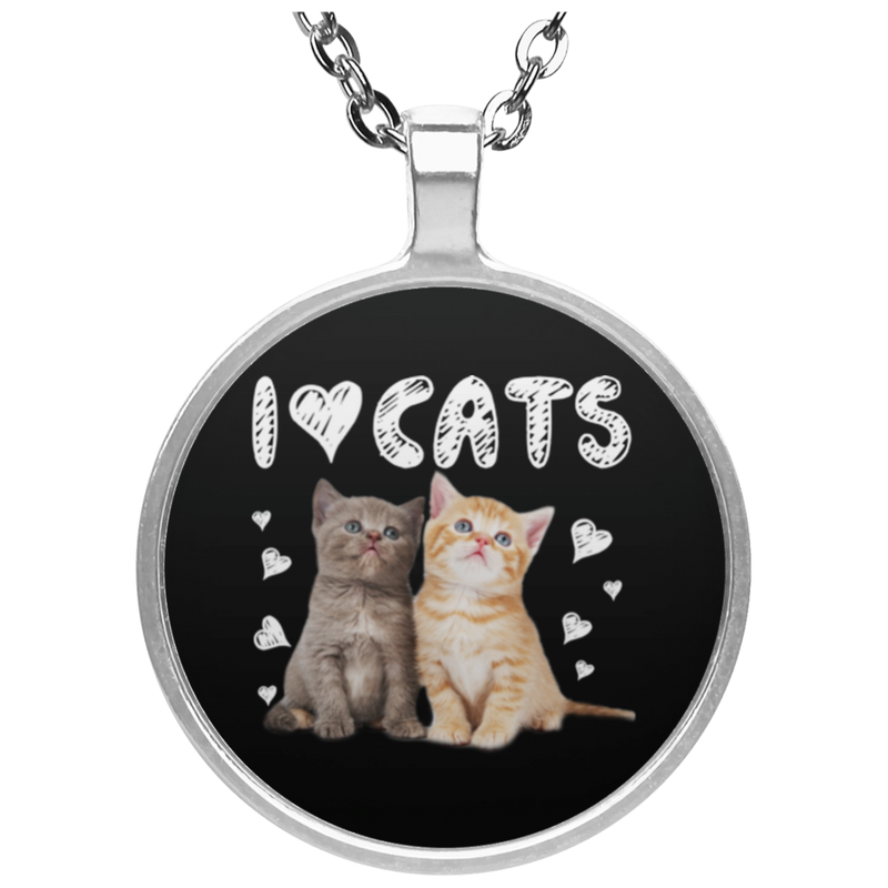 I LOVE CATS Circle Necklace