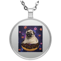 SPACE PUG RIDING DONUTS Circle Necklace