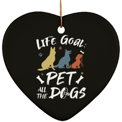 PET ALL THE DOGS Ceramic Heart Ornament