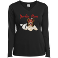 YORKIE MOM Ladies' LS Performance V-Neck T-Shirt