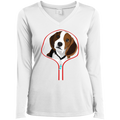 BEAGLE ZIP-DOWN Ladies' LS Performance V-Neck T-Shirt