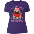 THE GIRL LOVES WATERMELON AND HER PUG Ladies' Boyfriend T-Shirt