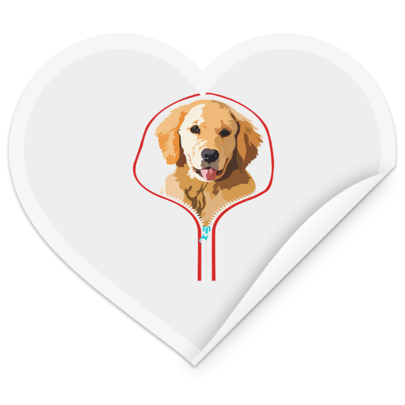 GOLDEN RETRIVER ZIP-DOWN Heart Sticker