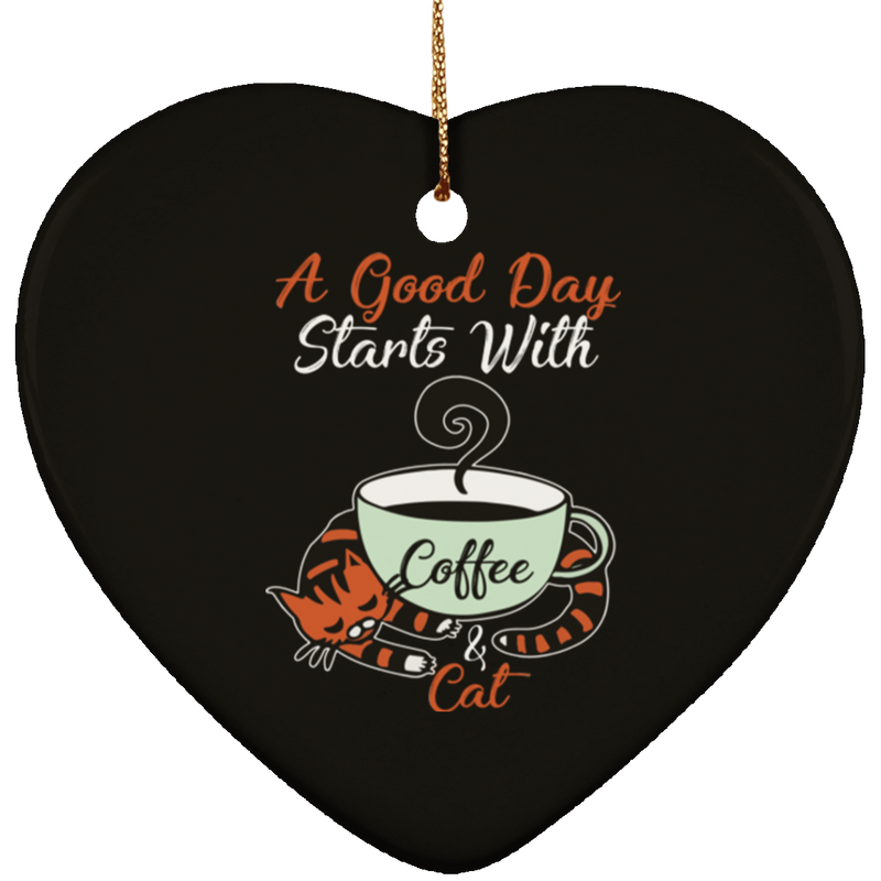 A GOOD DAY STARTS WITH COFFEE Ceramic Heart Ornament