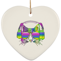 RAINBOW MUSIC CAT Ceramic Heart Ornament